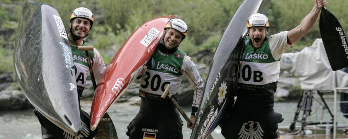 Europameister Franz Anton (Leipzig), Nico Bettge (Leipzig) und Sideris Tasiadis (Augsburg)