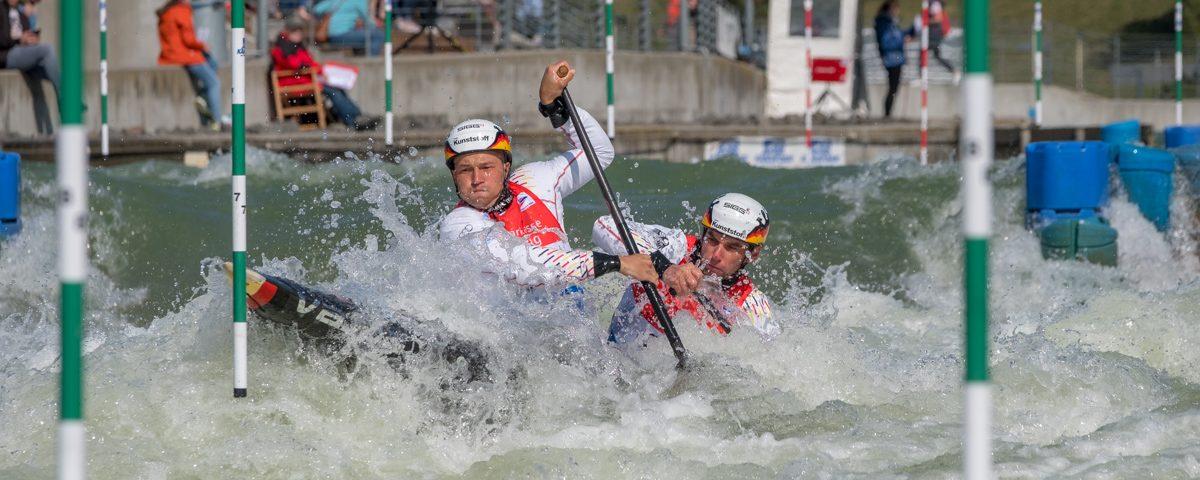 Sieger des Canadier-Zweier-Wettbewerbs, Franz Anton und Jan Benzien vom Leipziger-Kanu-Club e.V.